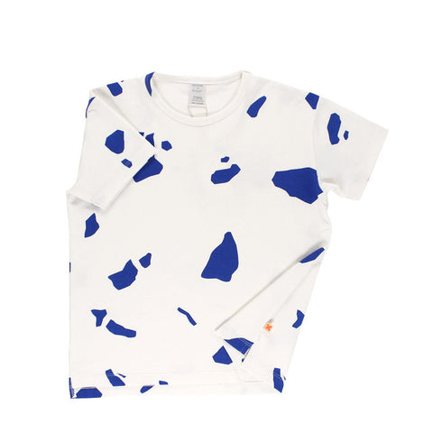 Tiny Cottons SS17 | Cut Outs Oversized Tee - Off White/Blue | The Mini Life