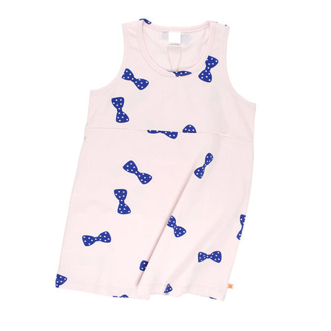 Tiny Cottons SS17 | Bowties Tank Dress - Pale Pink/Blue | The Mini Life