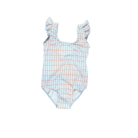 Tiny Cottons SS17 | Grid Swimsuit - Light Blue/Red | The Mini Life