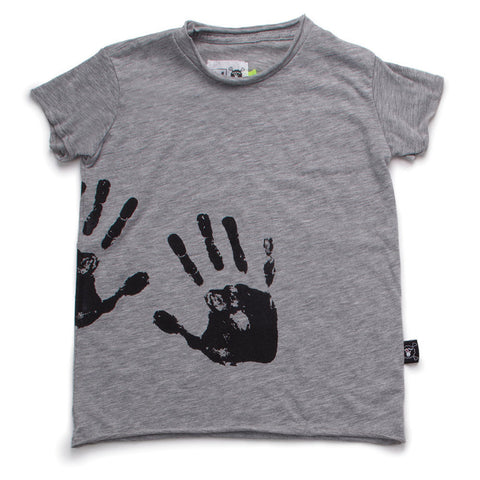 NUNUNU SS17 |Hand Print Raw Tee - Heather Grey | The Mini Life, Canada