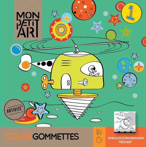 Mon Petit Art - Extraordinary Vehicles Colouring Book with Stickers