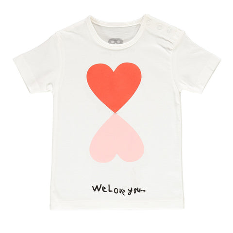 Double Heart Baby Tee - Stone Washed Vanilla