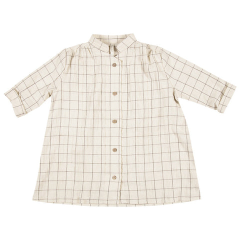 RYLEE + CRU Check Button Shirt Dress - Vanilla