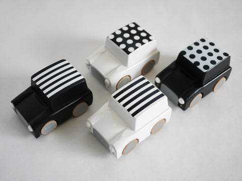 Kukkia / Kiko+ | Kuruma White Dot Wooden Car | www.theminilife.com