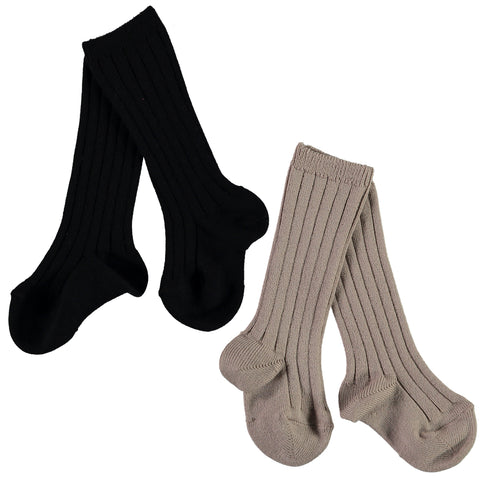 Mini Sibling - 2 Pack Ribbed Long Socks