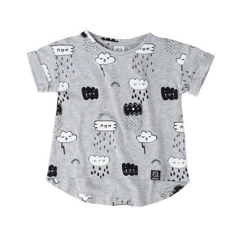 Kukukid | Clouds Tee - Grey Melange | The Mini Life