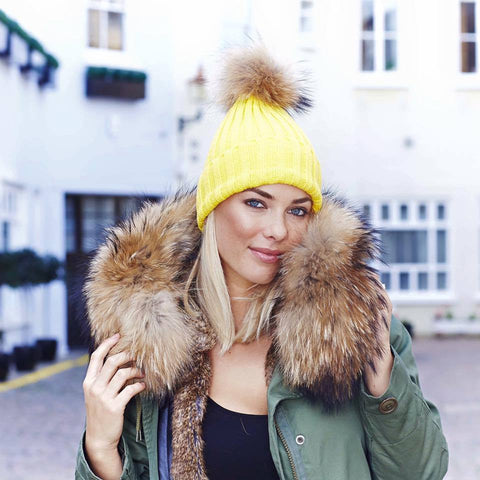 Raccoon Fur Pom Pom Hat - yellow