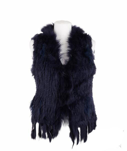 Rosie Rabbit Fur Gilet - Navy