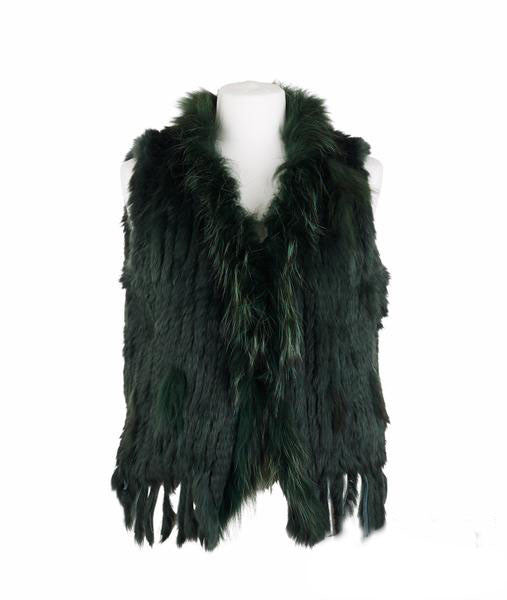 Rosie Rabbit Fur Gilet - Emerald