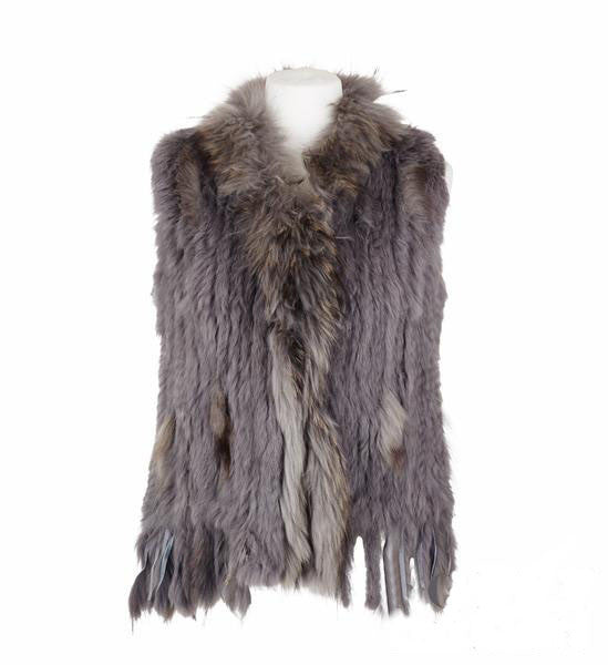 Rosie Rabbit Fur Gilet - Dark Grey