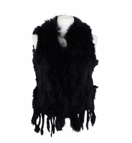 Rosie Rabbit Fur Gilet - Black
