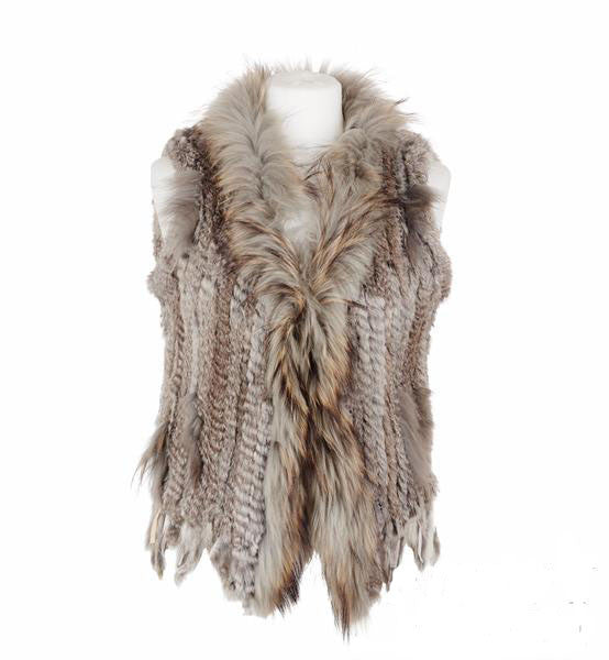 Rosie Rabbit Fur Gilet - Chinchilla