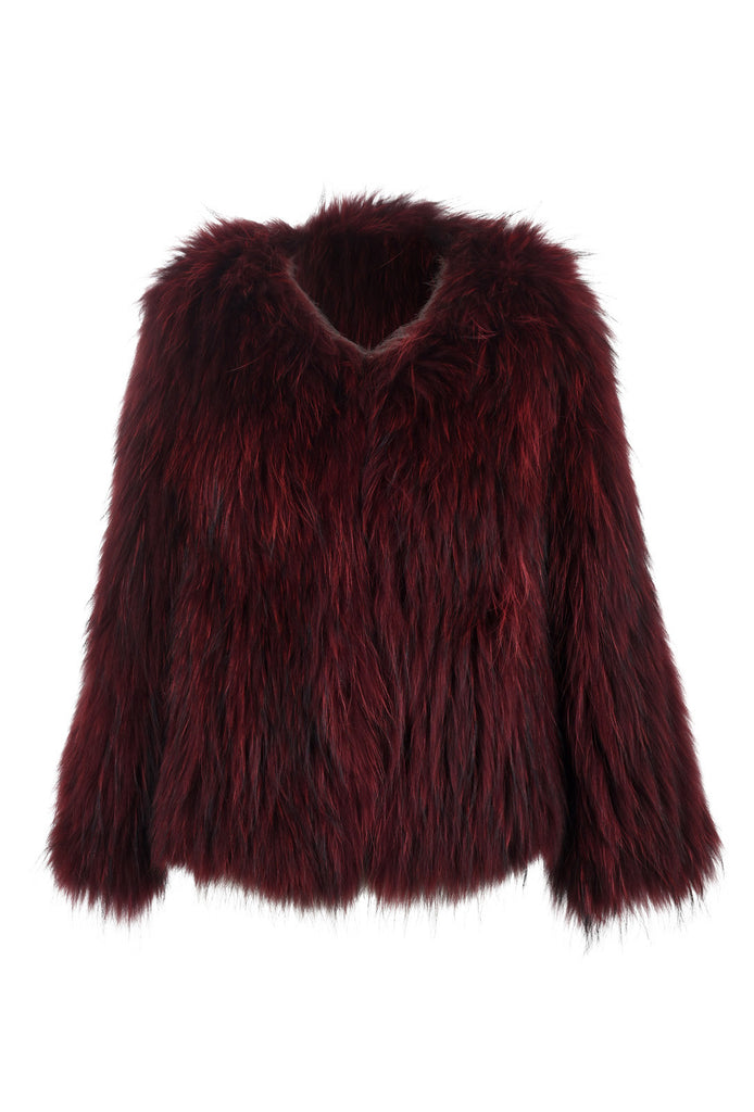 Roxy Raccoon Fur Feather Jacket Burgundy