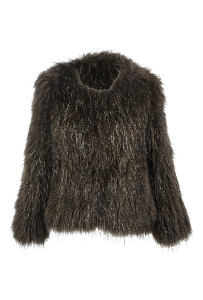 Roxy Raccoon Fur Feather Jacket Olive