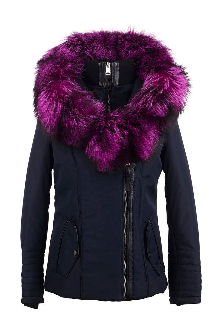 Cecile Jacket Purple Silver Fox Collar