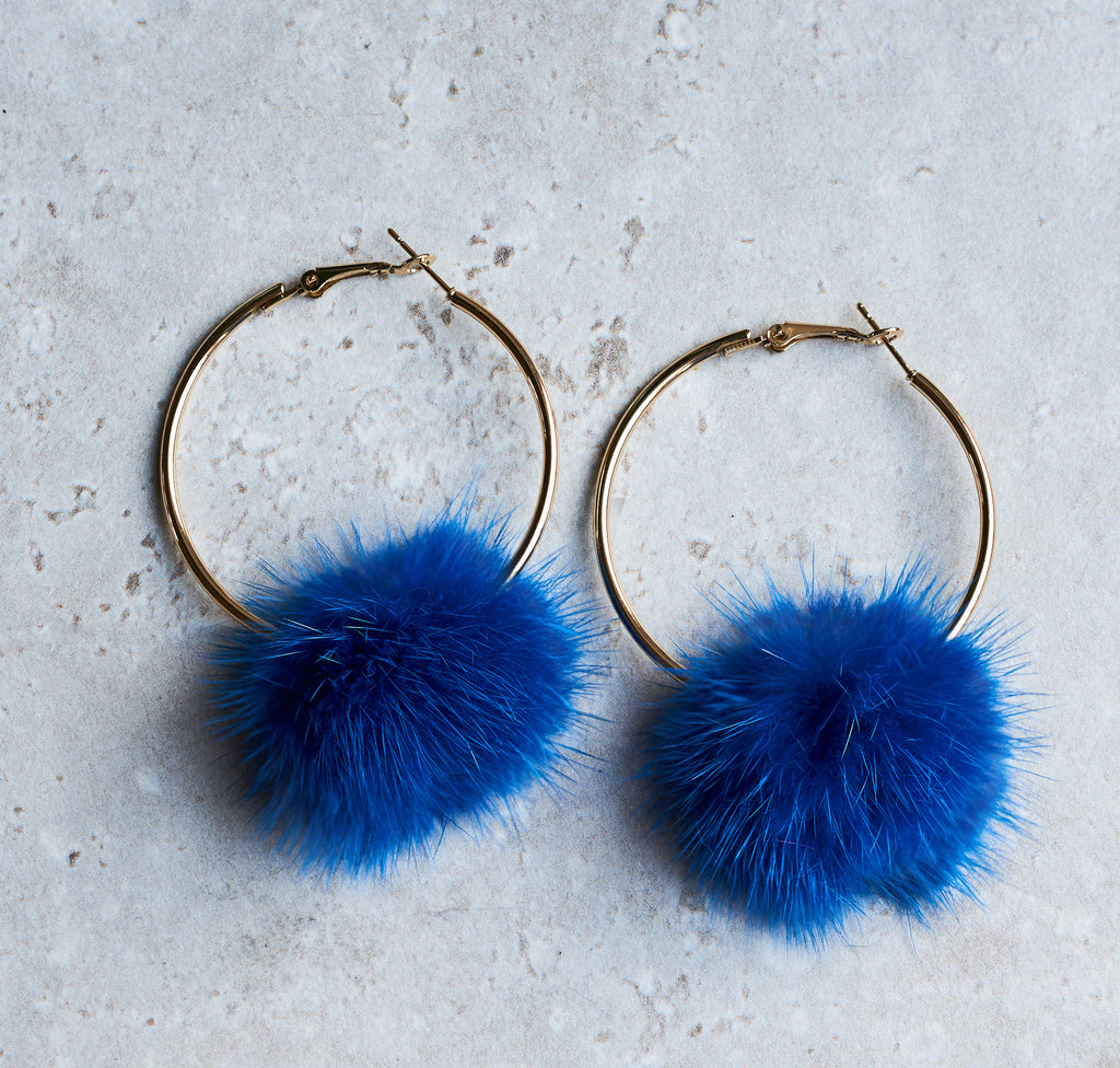 Monica Mink Fur Hoop Earring - Electric Blue