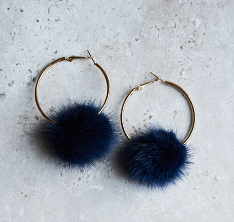 Monica Mink Fur Hoop Earring - Navy