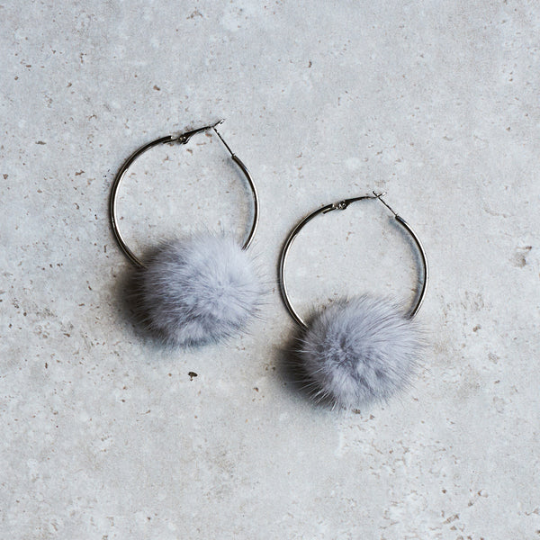 Monica Mink Fur Hoop Earring - Silver Grey
