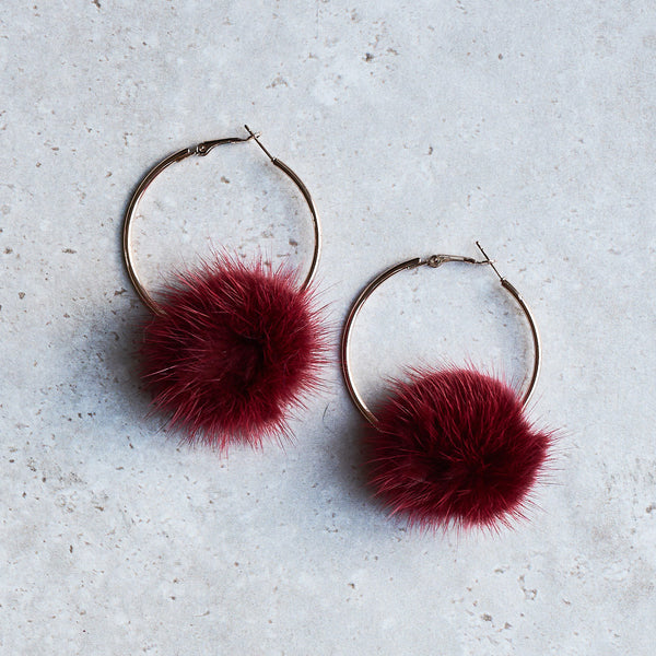 Monica Mink Fur Hoop Earring - Bordeaux