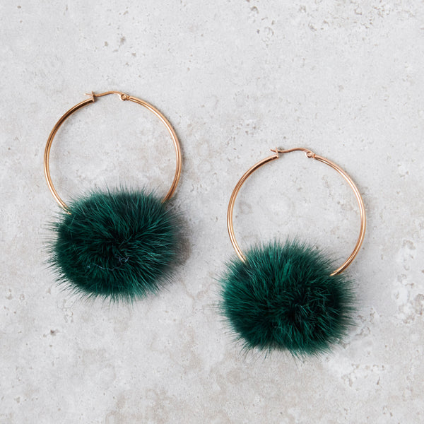 Monica Mink Fur Hoop Earring - Emerald Green
