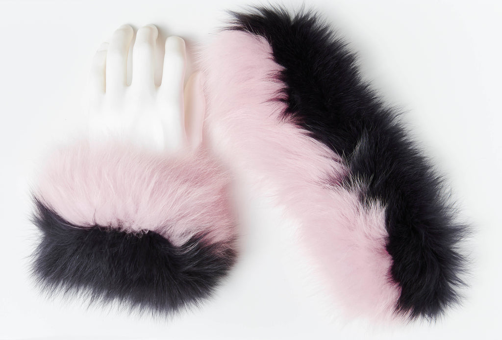 Fox Fur Slap On Cuffs - Charcoal/Pink