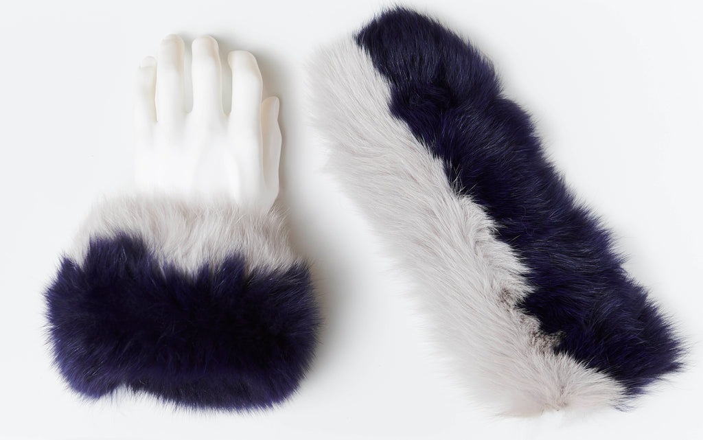 Fox Fur Slap On Cuffs - Navy/Light Grey