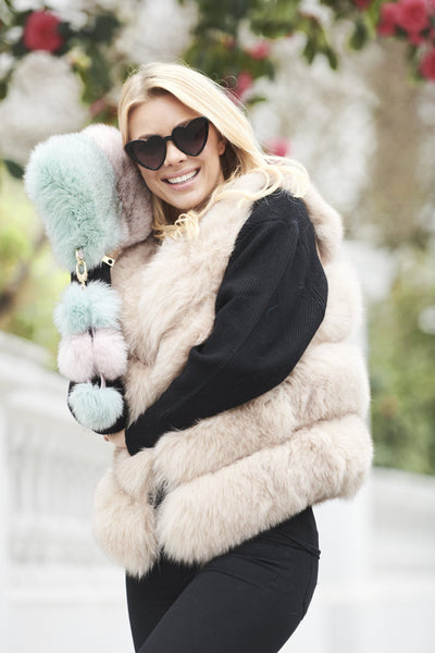 Chelsea Fox Fur Gilet in Nude
