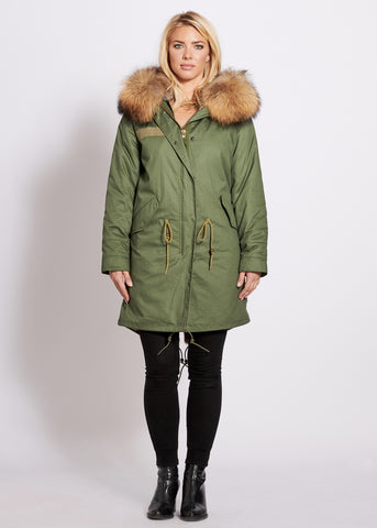 3/4 Length Parka with Raccoon Fur Collar Natural