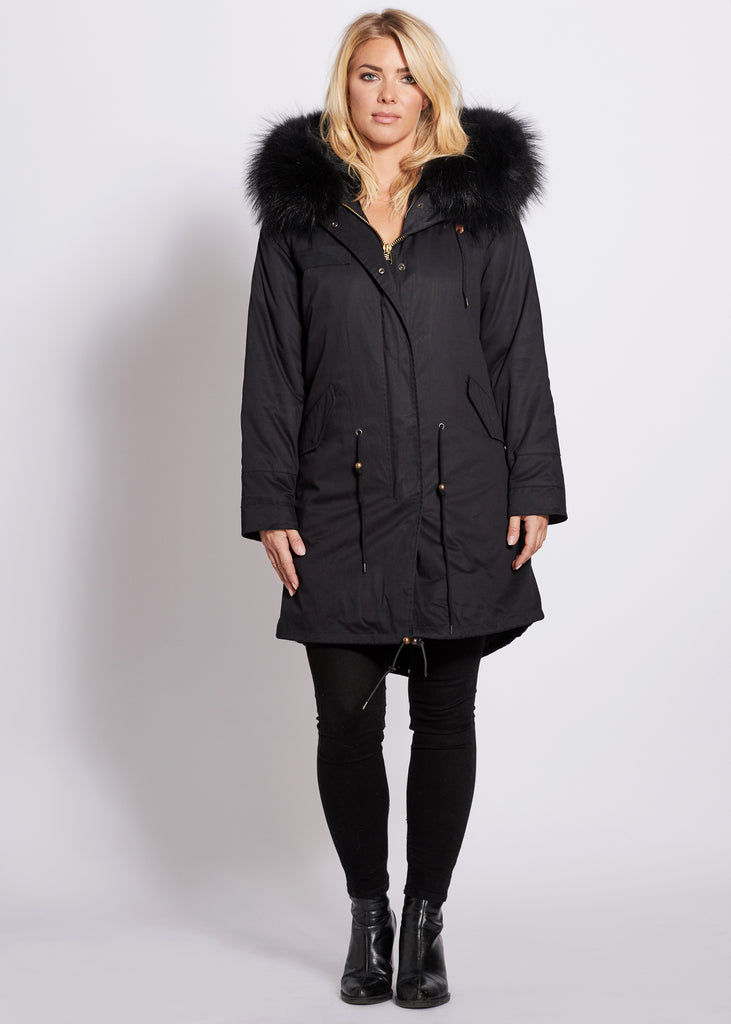Popski London Black 3/4 Length Parka with Matching Raccoon Fur Collar