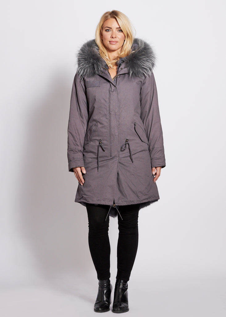 Popski London Grey 3/4 Length Parka with Matching Raccoon Fur Collar