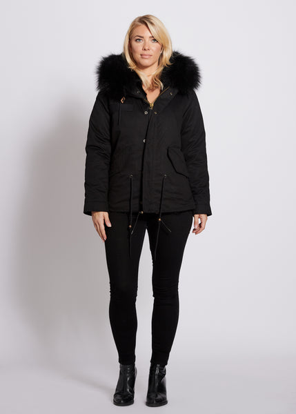 Popski London Black Fur Lined Parka jacket with Black Raccoon Collar