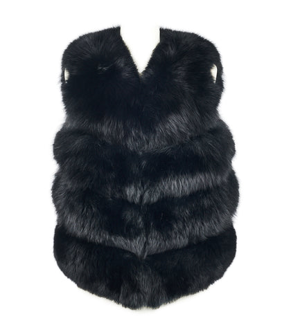 Chelsea Fox Fur Gilet in Jet Black