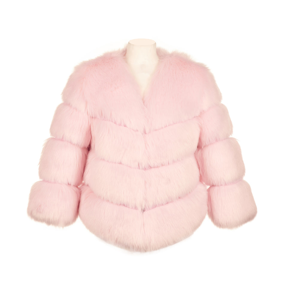 Faux Fur Kensington Jacket - Light Pink