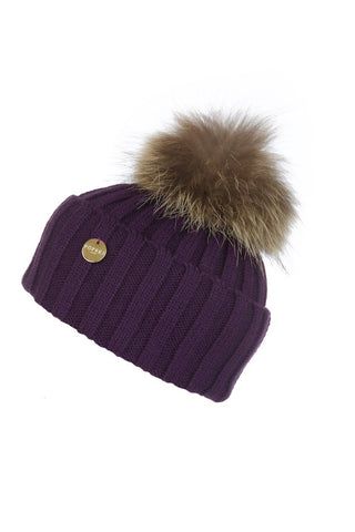 Deep Purple Fur Pom Pom Hat