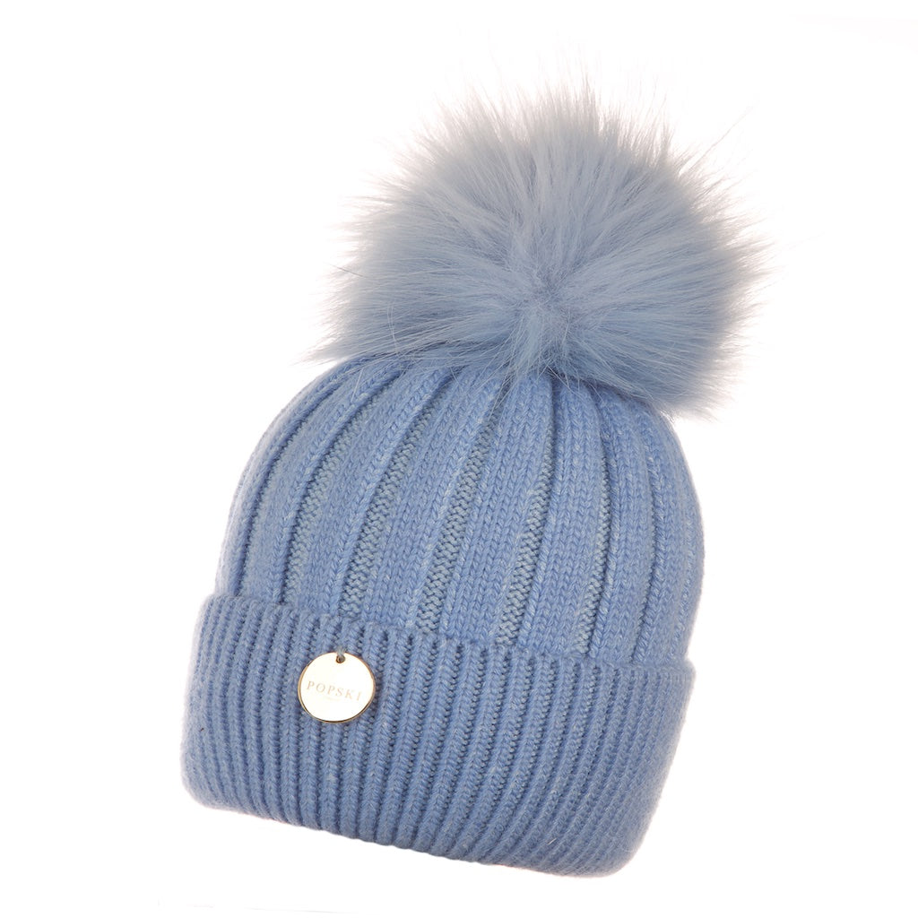Baby Popski Angora Baby Blue with Matching Faux Fur Pom Pom Hat