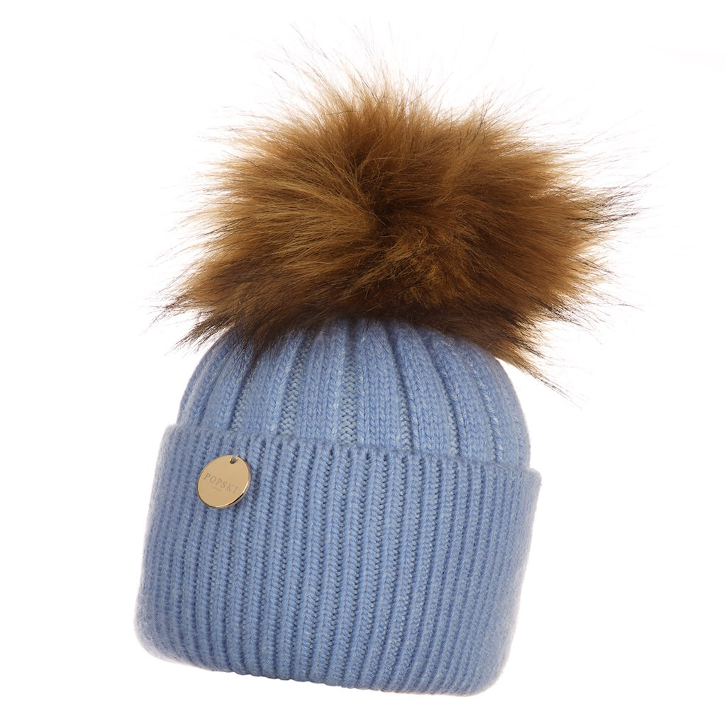 Baby Popski Angora Baby Blue with Natural Faux Fur Pom Pom Hat