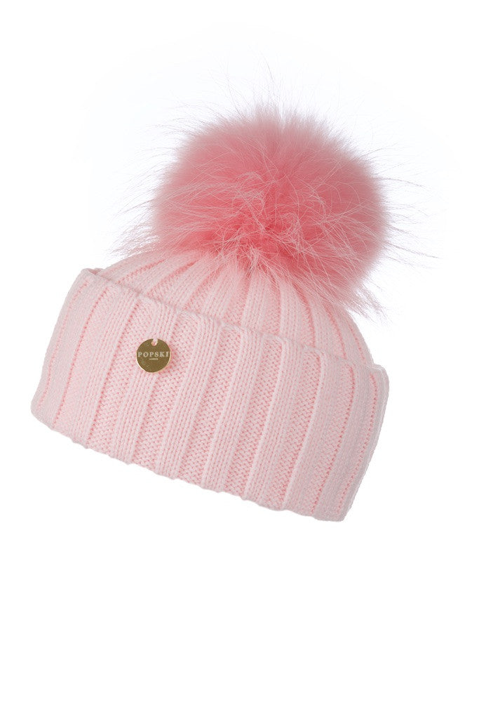Raccoon Fur Pom Pom Hat with Matching Pom Pom - Candy Pink