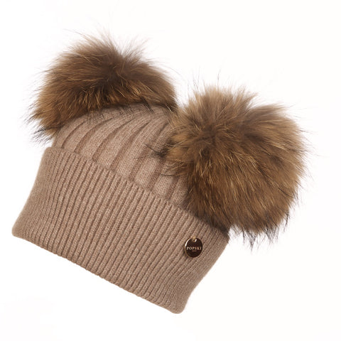 Double Angora Fur Pom Pom Hat Soft Fawn