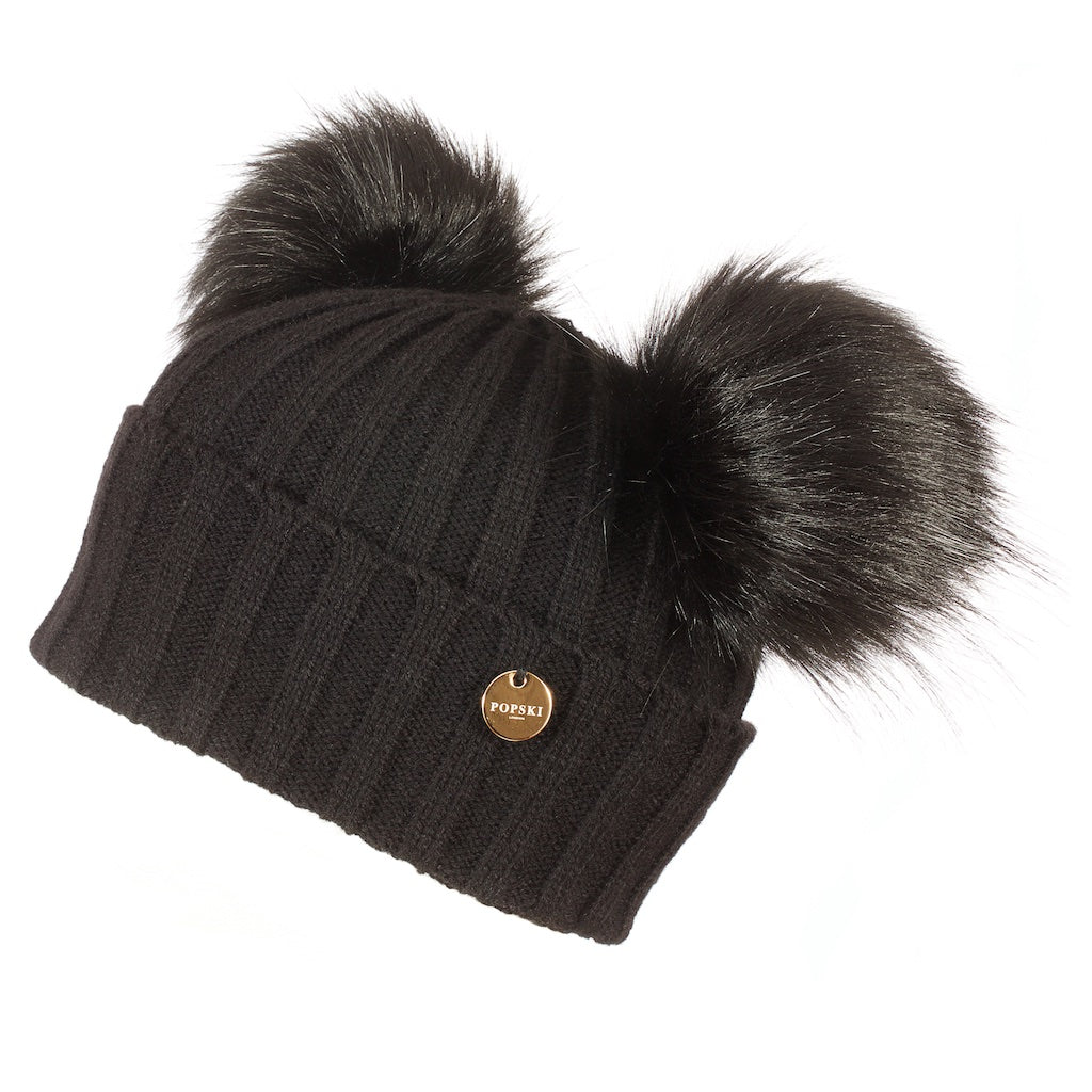 Double Faux Fur Pom Pom Hat Black