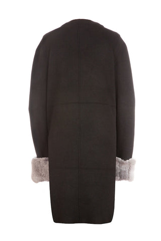 Popski London Fur Cuff Cardigan Black/Grey