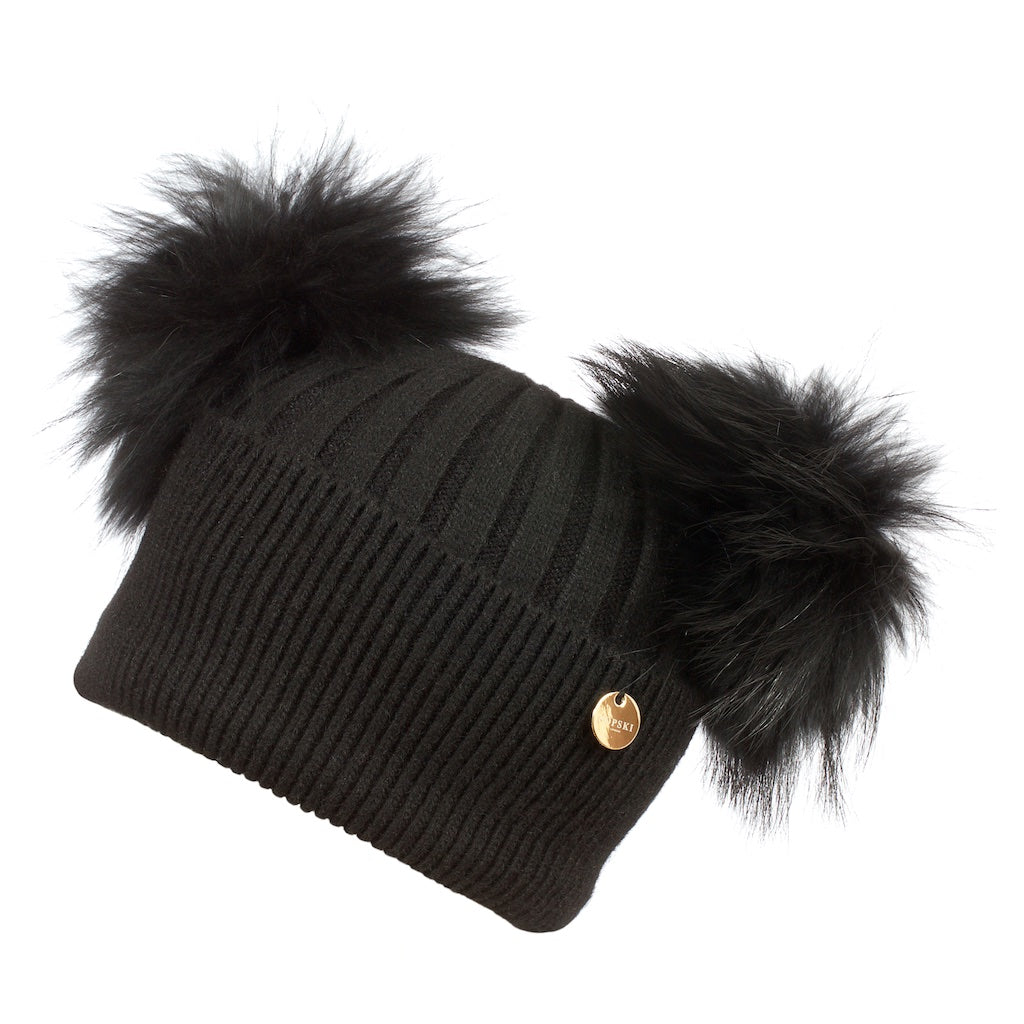 Double Angora Fur Pom Pom Hat Black with Black
