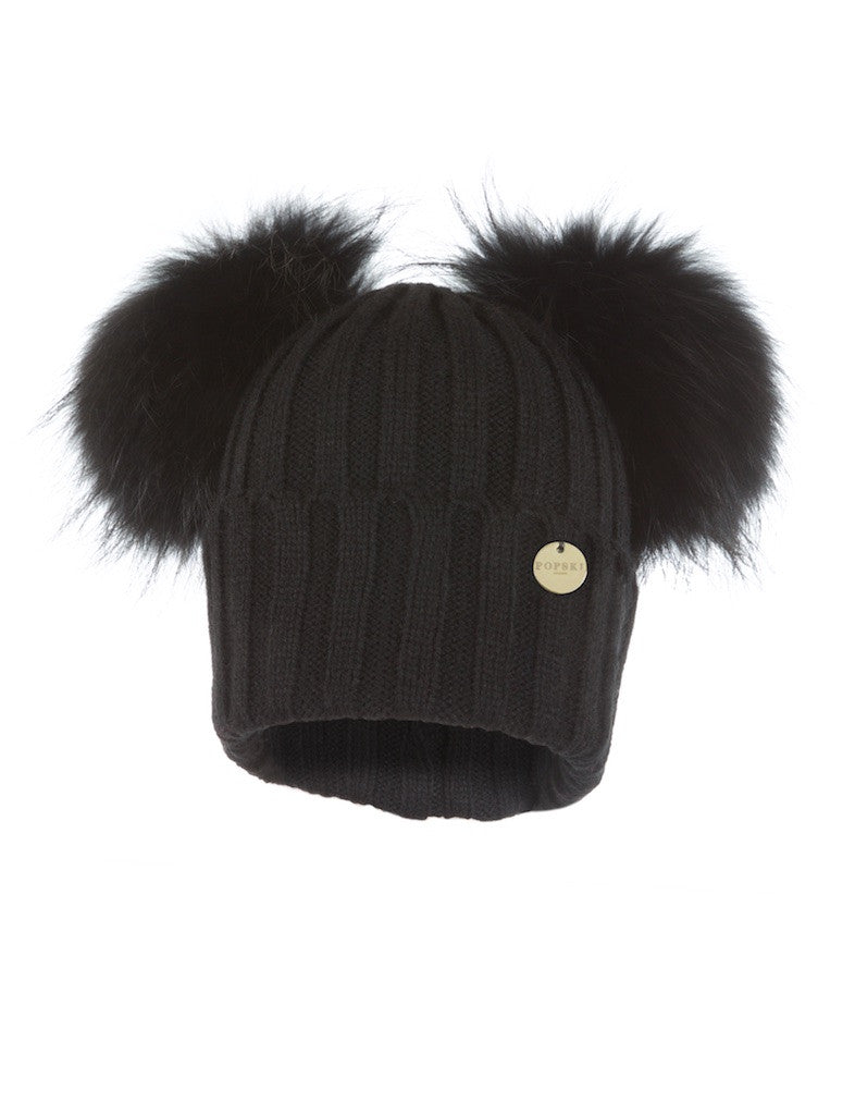 Double Raccoon Fur Pom Pom Hat Black