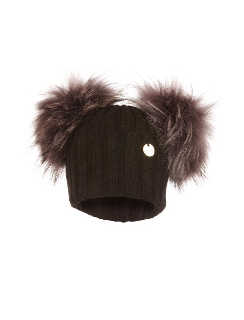 Double Raccoon Fur Pom Pom Hat Black with Silver Fox Pom Pom
