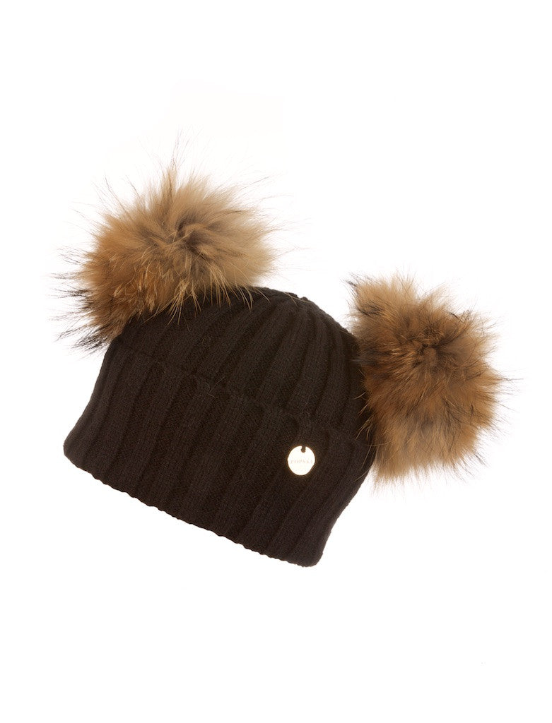 Double Raccoon Fur Pom Pom Hat Black with Natural Pom Pom