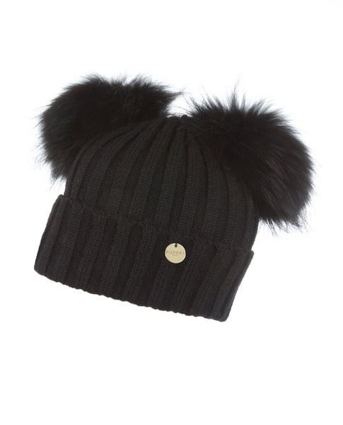 Double Raccoon Fur Pom Pom Hat Black – Popski London e40e10a9052