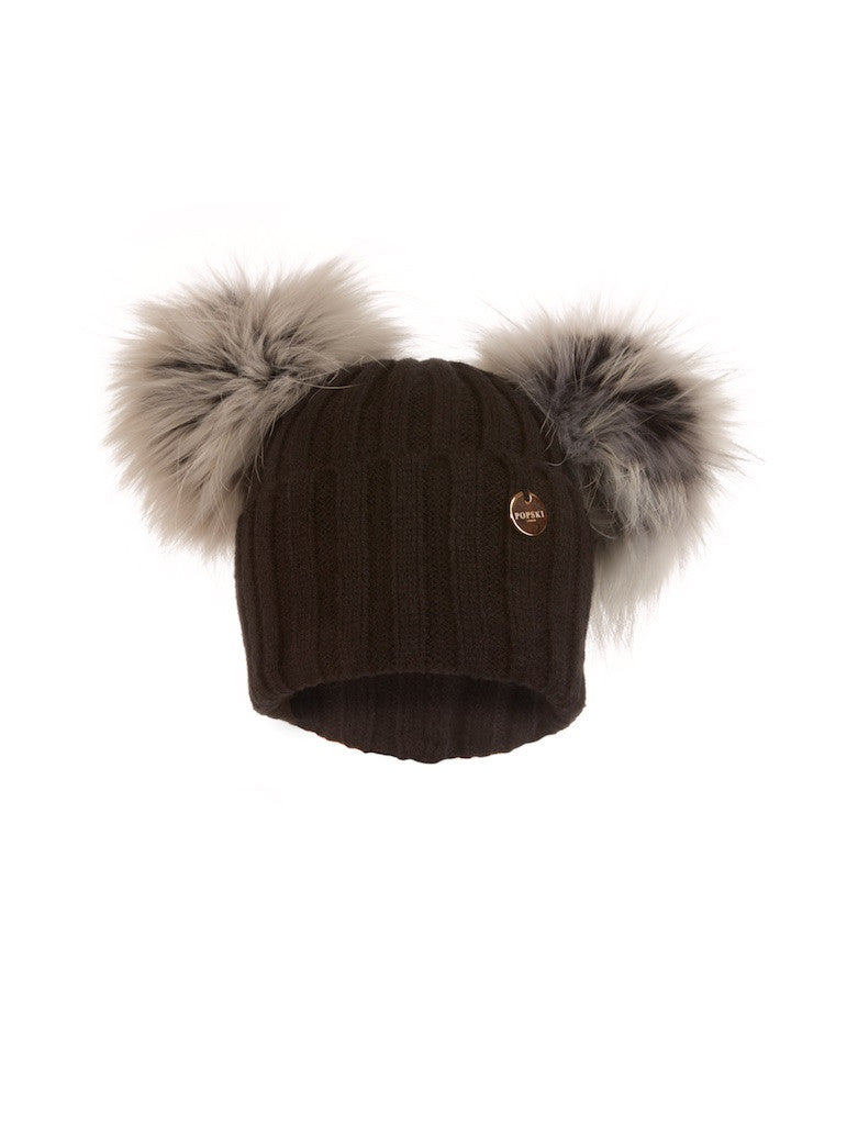 Double Raccoon Fur Pom Pom Hat Black with Silver White Pom Pom
