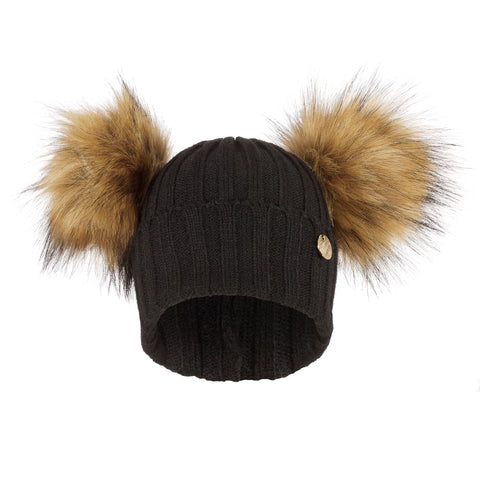 Double Faux Fur Pom Pom Hat Black with Natural Faux Pom Pom