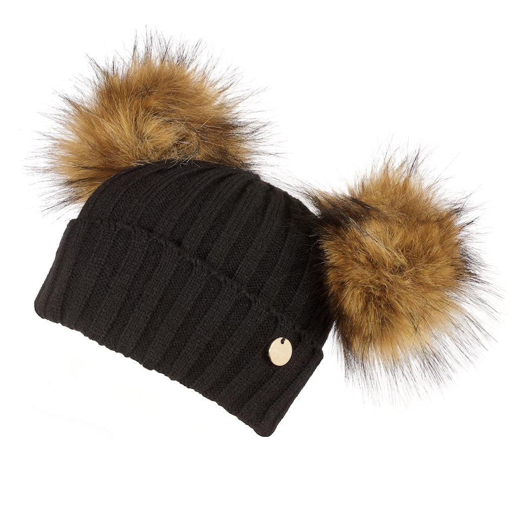 a8b1a501700 Double Faux Fur Pom Pom Hat Black with Natural Faux Pom Pom