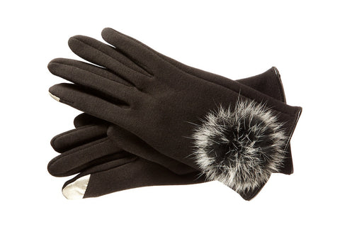 Thermal Black Gloves Fur Pom Pom