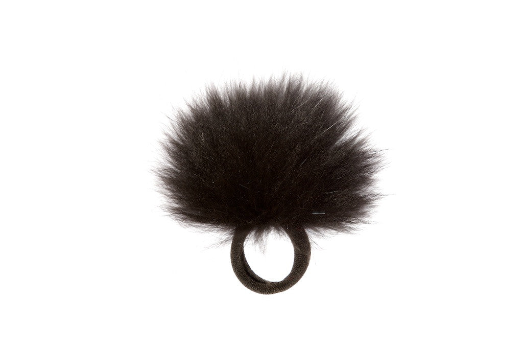 Vintage Fox Fur Hair Pom Pom - Black